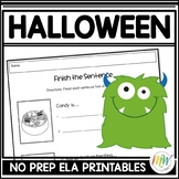 No Prep Halloween Literacy Activity Packet