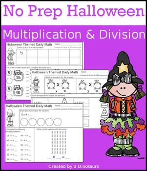 No Prep Halloween Multiplication & Division