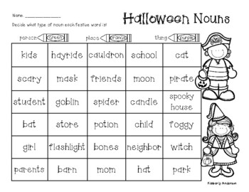 No-Prep Halloween: Nouns (Person, Place, Thing)