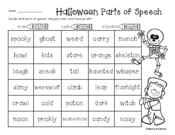 No-Prep Halloween Parts of Speech (Nouns / Verbs / Adjectives) Practice