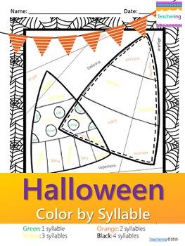 NO PREP Halloween Syllables Worksheet