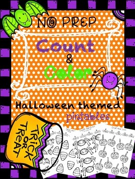No Prep Halloween Themed Count and Color Math Printables