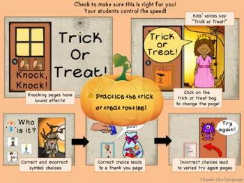 Halloween: NO PREP Interactive Trick or Treat Routines Book with Sound Effects