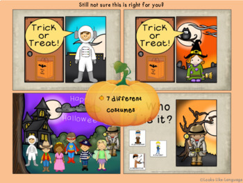 Adapted Digital Book for Autism and Speech No Prep Halloween Routines
