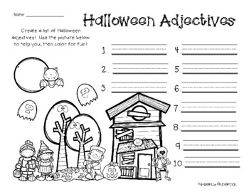 No-Prep Halloween: Verbs and Adjectives Creative Brainstorming
