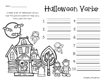 No Prep Halloween Verbs And Adjectives Creative Brainstorming Tpt