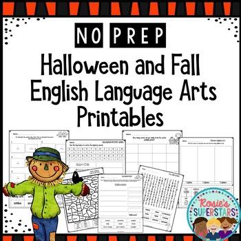 No Prep Halloween and Fall English Language Arts Printables