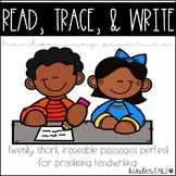 No Prep Handwriting Practice Passages- Read, Trace, & Write