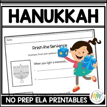 No Prep Hanukkah Literacy Activity Packet