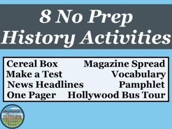 No Prep History Review Activities
