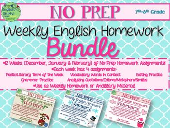 No Prep Homework BUNDLE:12 Weeks of Homework-SET 2