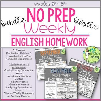 No Prep Homework BUNDLE-12 Weeks of Homework Printable-SET 1