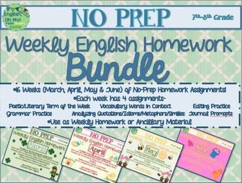 No Prep Homework BUNDLE:16 Weeks of Homework-SET 3