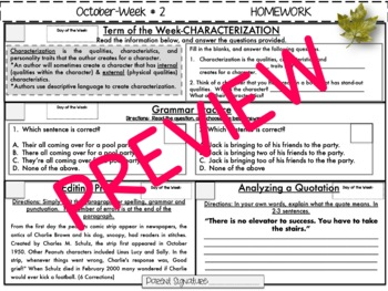 NO PREP Homework {October}: Idioms, Quotations, Words in Context, Editing