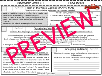 NO PREP Homework {November}: Idioms, Quotations, Words in Context, Editing