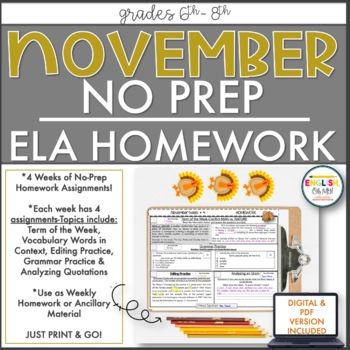 NO PREP Homework {November}: Idioms, Quotations, Words in