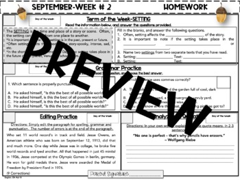 NO PREP Homework {September}: Idioms, Quotations, Words in Context, Editing
