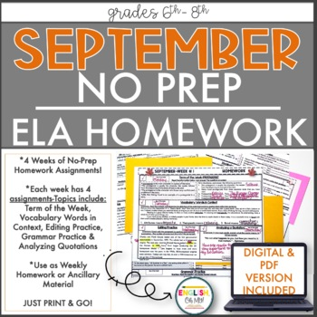 NO PREP Homework {September}: Idioms, Quotations, Words in