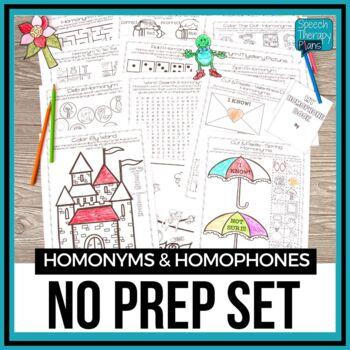 No Prep Homonyms & Homophones