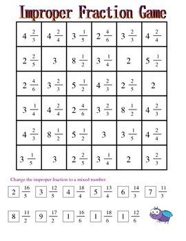 No Prep Improper Fractions Game - Fourth Grade Common Core 4.NF.B.3.C