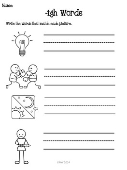No Prep Ink Friendly Vowel Assessments (-ew, -igh, -ou, -ow, -y)
