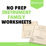 No Prep Instrument Family Worksheets