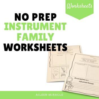 No Prep Instrument Family Worksheets