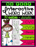 No Prep Interactive Word Work FREEBIE