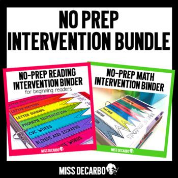 No Prep Intervention Binder BUNDLE ELA and MATH