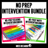 No Prep Intervention Binder BUNDLE ELA and MATH Distance Learning