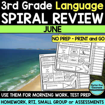 3RD GRADE Homework Morning Work for LANGUAGE & GRAMMAR - JUNE NO PREP