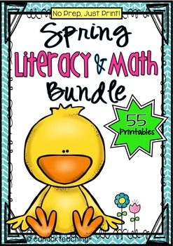 No Prep, Just Print! Spring, Easter & Earth Day Literacy and Math BUNDLE Grade 1