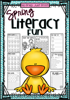 No Prep, Just Print! Spring, Easter and Earth Day Literacy Pack Grade 1