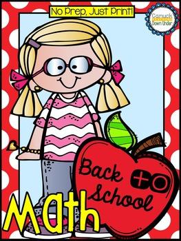 No Prep, Just Print! Back to School Math Pack Kindergarten