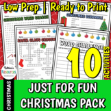 No-Prep Just for Fun Christmas Activities Pack for Elementary Students