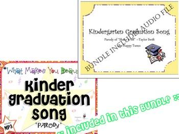 No Prep Kinder Graduation MEGA BUNDLE! 5-MP3 songs, lyrics & accomp. K grad