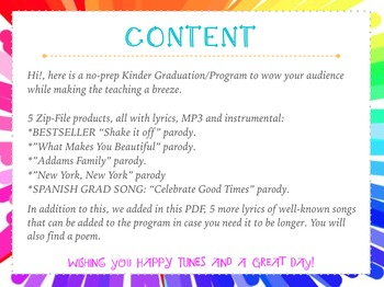 No Prep Kinder Graduation MEGA BUNDLE! 5-MP3 songs, lyrics & accomp. K grad
