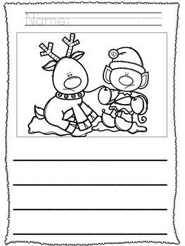 No Prep! Kindergarten Christmas Writing Activities- December Writing
