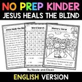 No Prep Kindergarten Jesus Heals the Blind Bible Lesson -