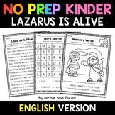 No Prep Kindergarten Lazarus is Alive Bible Lesson - Dista