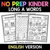 No Prep Kindergarten Long A Word Work - Distance Learning