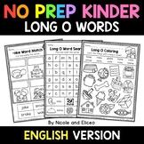No Prep Kindergarten Long O Word Work - Distance Learning