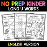 No Prep Kindergarten Long U Word Work - Distance Learning