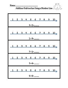 No Prep, Kindergarten Math Worksheets, Addition Subtraction, Using Number Line