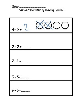 No Prep, Kindergarten Math Worksheets, Addition/ Subtraction by Drawing Pictures