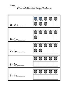 No Prep, Kindergarten Math Worksheets, Addition and Subtraction Using 10 Frame