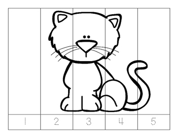 No Prep-Kindergarten Puzzles-  Count, Trace, Color, Cut, and Paste-3 MATH CCSS