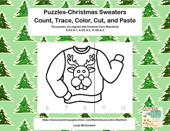 No Prep-Kindergarten Puzzles-  Count,Trace, Color, Cut, an