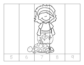 No Prep-Kindergarten Puzzles-  Count, Trace, Color, Cut, and Paste-3 CCSS -Kids