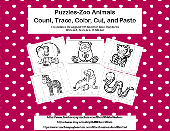 No Prep-Kindergarten Puzzles-  Count, Trace, Color, Cut, and Paste-3 CCSS -Zoo